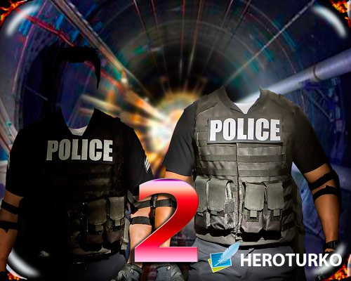 Шаблон фотошоп для монтажа - Двое полицейский в тонеле