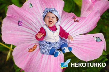 Рамка детская На цветке с бабочками