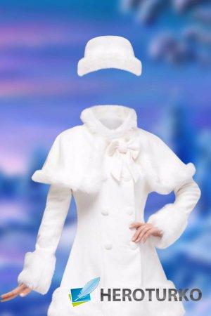Женский шаблон для фотошопа – Белое пальто