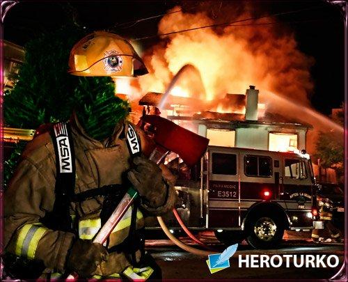 Psd шаблон шаблон для фото - Пожарник