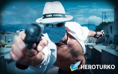 Фотошаблон для монтажа - Парень с пистолетами на лету