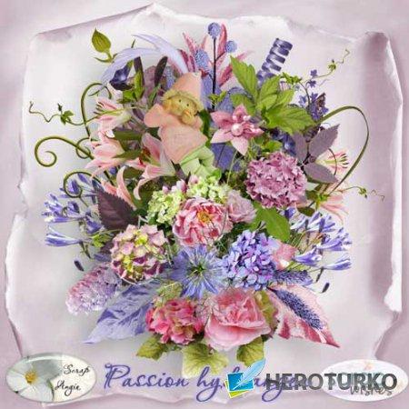 Цветочный скрап-набор - Страсть к гортензиям