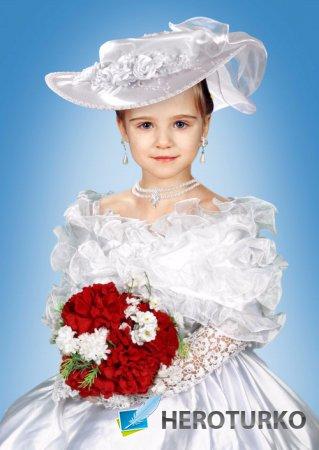 Шаблон для девочек – Белое платье и шляпа из атласа