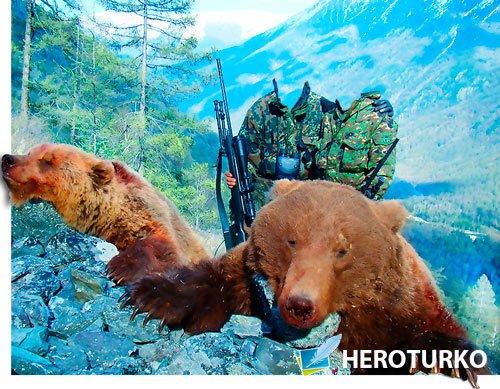 Шаблон для фотошопа - Два охотника и два медаедя