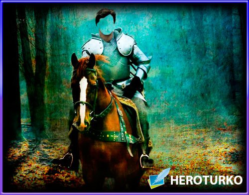 Шаблон для фотошопа - Рыцарь на коне в лесу