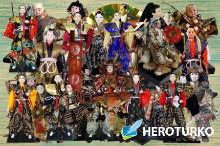 Клипарт Коллекция японских кукол самураев
