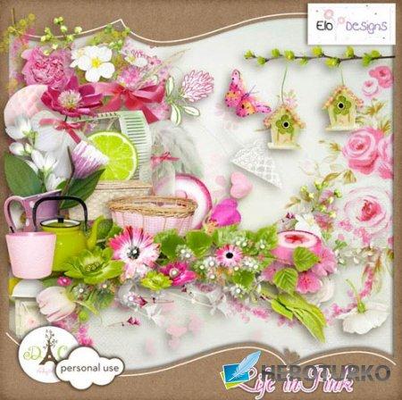Цветочный скрап-набор - Жизнь в розовом