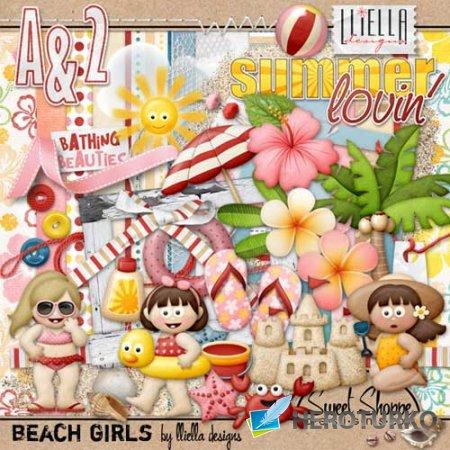 Детский морской скрап-набор - Девочки на пляжу