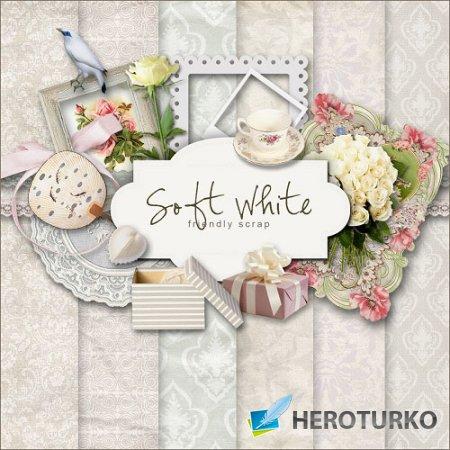 Скрап-набор - Мягкий и белый