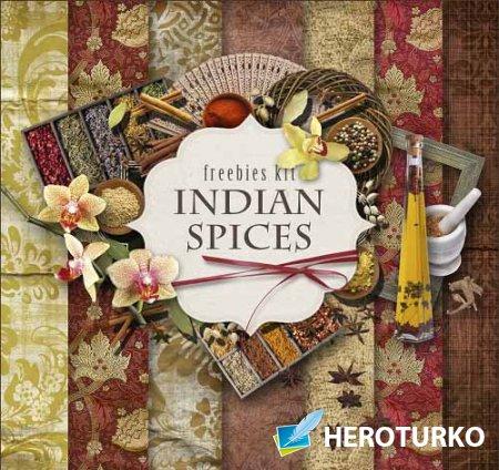 Скрап-набор - Индийские специи и пряности