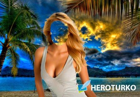 Шаблон для фотошопа  - Девушка под пальмами