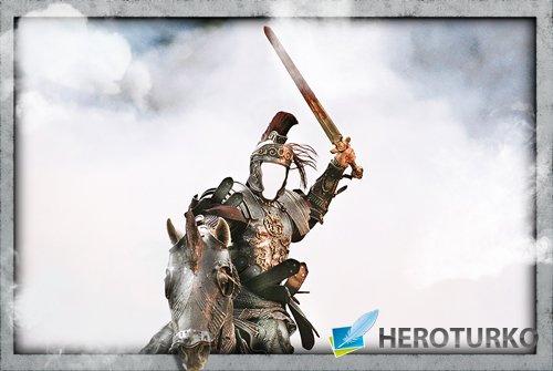 Фотошаблон для фотошопа - Римлянин на коне с мечом