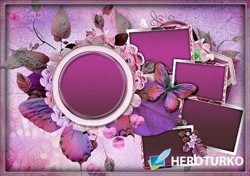 Рамка psd - Цветочная для пяти фото