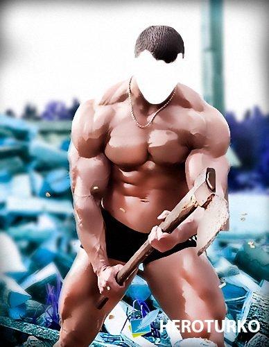 Мужской фотошаблон - Мускулистый дровосек