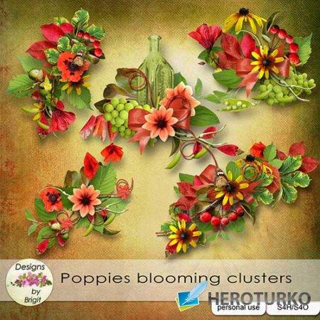 Цветочный скрап-набор - Цветущие маки