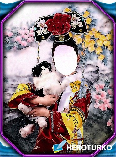 Шаблон - Девочка с котенком