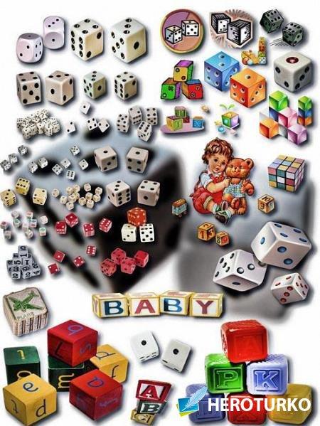 Клипарты на прозрачном фоне - Кубик рубик и кости